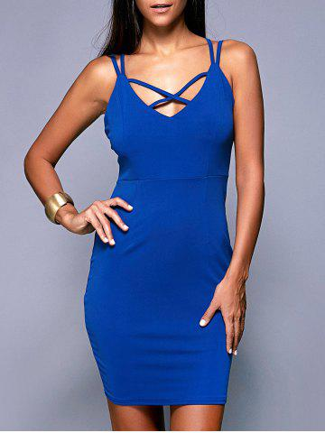 Online Criss-Cross Backless Zippered Dress BLUE XL