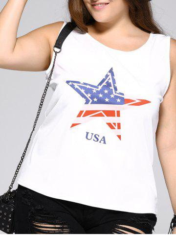 New Oversized Brief Star and Letter Print Tank Top WHITE 3XL