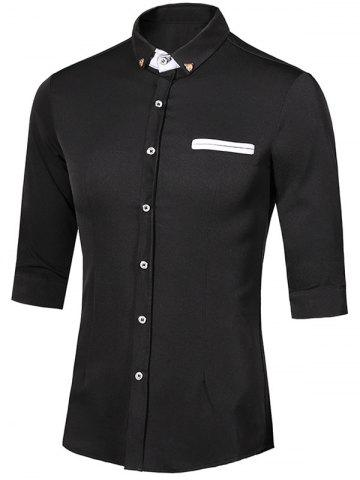 Outfit Turn-Down Collar Metal Detail Button-Down Three-Quarter Sleeves Shirt For Men