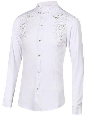 Discount Floral Embroidery Turn-Down Collar Long Sleeve Button-Down Shirt For Men