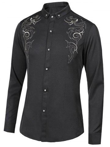 Black Xl Floral Embroidery Turn-Down Collar Long Sleeve Button ...