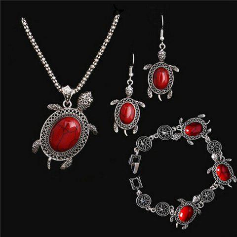 Online A Suit of Vintage Faux Gem Tortoise Jewelry Set RED