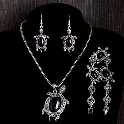 A Suit of Vintage Faux Gem Tortoise Jewelry Set - Black - One-size