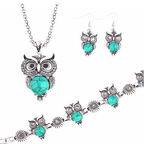 Buy A Suit of Faux Gem Owl Jewlry Set BLUE