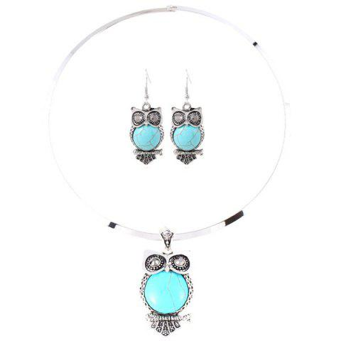 Best A Suit of Faux Gem Owl Necklace and Earrings