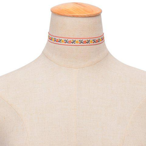 Sale Ethnic Embroidered Floral Choker WHITE