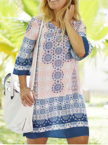 Discount Ethnic Style V-Neck 3/4 Sleeve Tunic Dress For Women