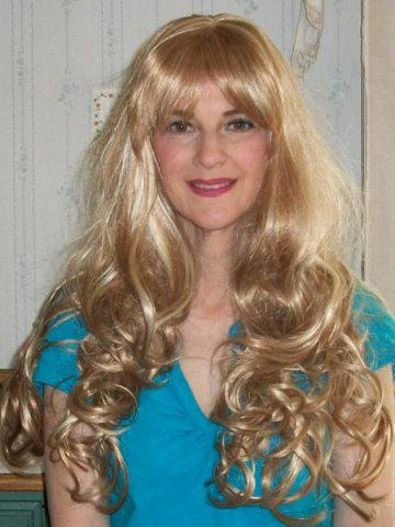 Shop Stylish Blonde Full Bang Fluffy Curly Capless Synthetic Mixed Flax Long Wig For Women