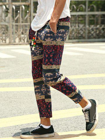 Discount Casual Style Lace-Up Tribal Printing Slimming Narrow Feet Pants For Men