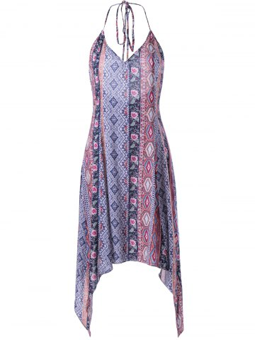 Fashion Backless Pringting Bohemian Halter Dress
