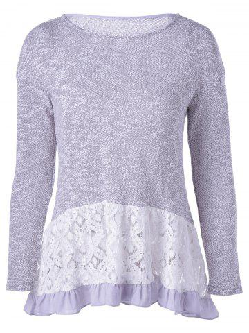 Shops Casual Long Sleeves Scoop Neck Lace Splicing Flounce T-Shirt For Women