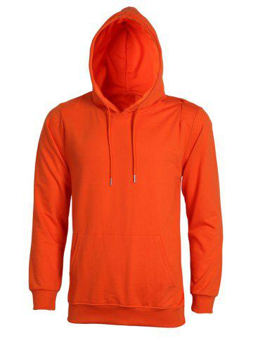 Cheap Casual Solid Color Ribbed Hem Long Sleeve Orange Hoodie For Men