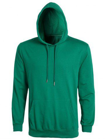 Solid Color Ribbed Hem Long Sleeve Hoodie For Men