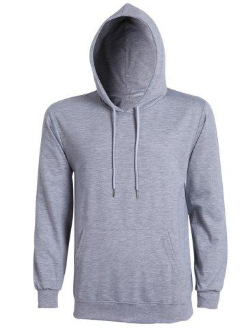 Casual Solid Color Ribbed Hem Long Sleeve Hoodie For Men - Gray - L