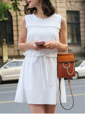 Unique Trendy Sleeveless Drawstring Fringed Solid Color Women's Dress