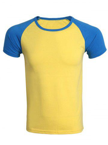 Fancy Cotton Blends Round Neck Color Block Splicing Raglan Sleeve T-Shirt For Men
