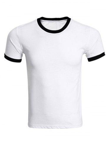 Trendy Contrast Trim Crew Neck Plain T Shirts