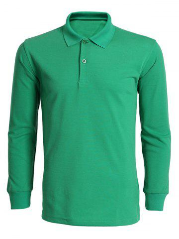Unique Turn-Down Collar Solid Color Long Sleeve T-Shirt For Men GREEN M