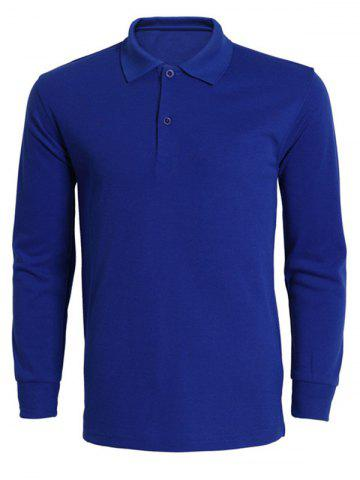 Cheap Turn-Down Collar Solid Color Long Sleeve T-Shirt For Men SAPPHIRE BLUE 3XL