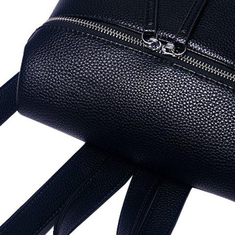 Shops Fashion PU Leather and Zip Design Satchel For Women - BLACK  Mobile