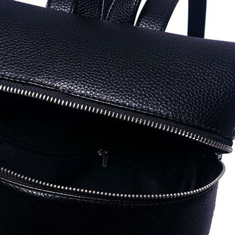 Discount Fashion PU Leather and Zip Design Satchel For Women - BLACK  Mobile
