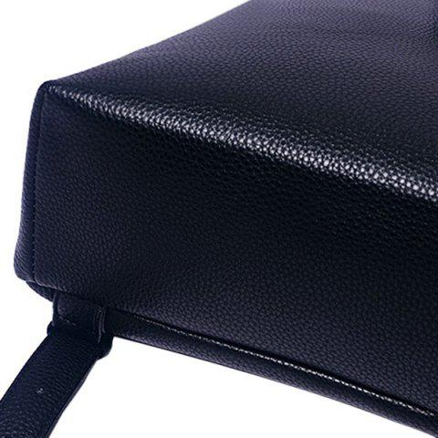 Chic Fashion PU Leather and Zip Design Satchel For Women - BLACK  Mobile