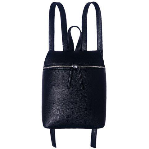 Outfits Fashion PU Leather and Zip Design Satchel For Women BLACK
