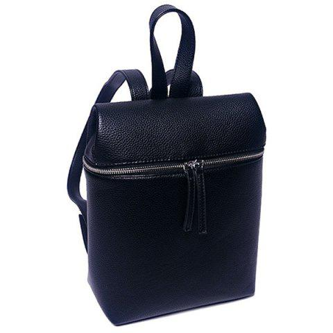 New Fashion PU Leather and Zip Design Satchel For Women - BLACK  Mobile