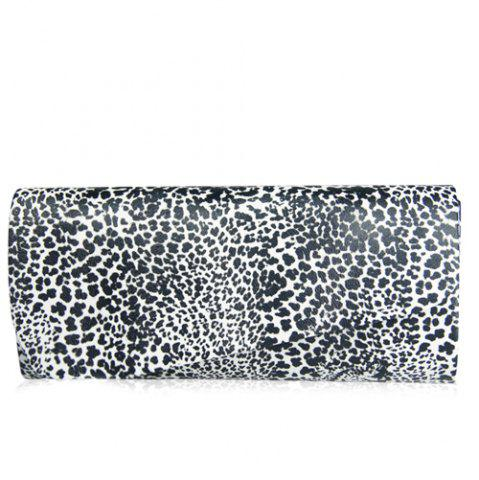 Affordable Fashionable Covered Closure and Leopard Printed Design Evening Bag For Women - WHITE AND BLACK  Mobile