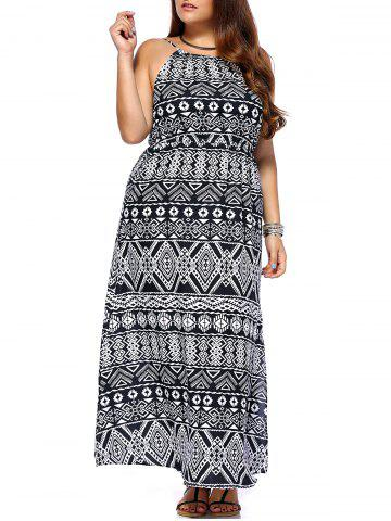 Best Chic Women's Geometrical Printed Sleeveless Plus Size Dress COLORMIX 3XL
