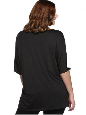 Buy Plus Size Color Block Blouse - 2XL WHITE AND BLACK Mobile