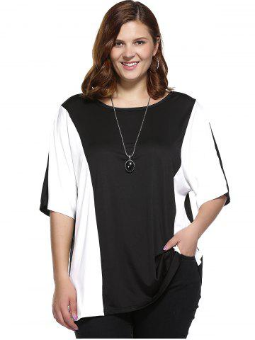 Outfit Plus Size Color Block Blouse - 2XL WHITE AND BLACK Mobile