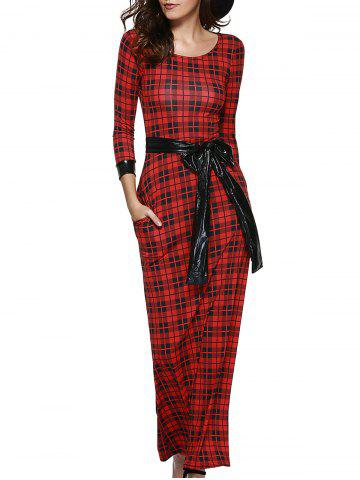 Outfit Retro Women's Plaid Belted Maxi Dress