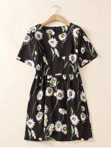 Hot Plus Size Chic Floral Printed Ruched Dress - L BLACK Mobile