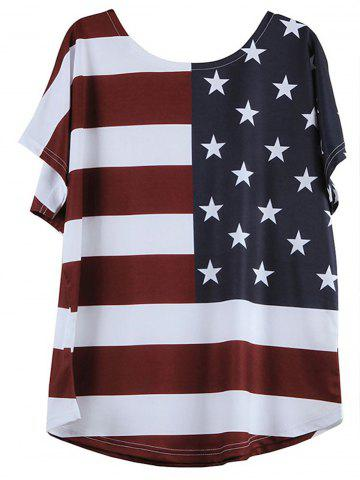 Chic V-Neck Short Sleeve Distressed American Flag T-Shirt - 2XL BLUE AND RED Mobile