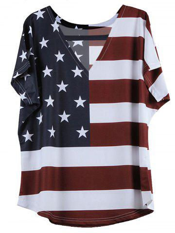 V-Neck Short Sleeve Distressed American Flag T-Shirt - Blue And Red - M