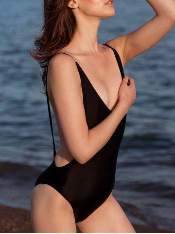 Hot Alluring High Cut Backless One-Piece Women's Swimwear - S BLACK Mobile