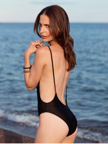 Shops Alluring High Cut Backless One-Piece Women's Swimwear - S BLACK Mobile