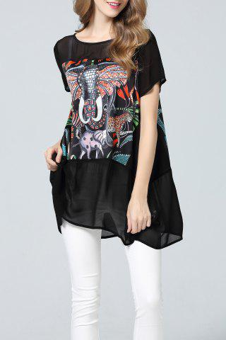 Elephant Print Asymmetrical Silk Tunic
