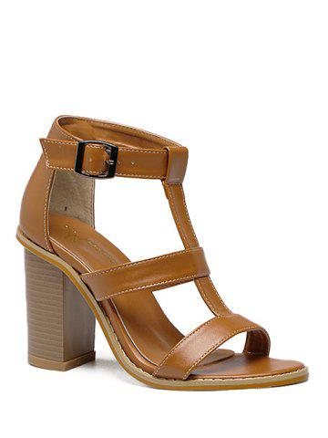 Fashion Rome T-Strap and Chunky Heel Design Sandals For Women - 37 BROWN Mobile