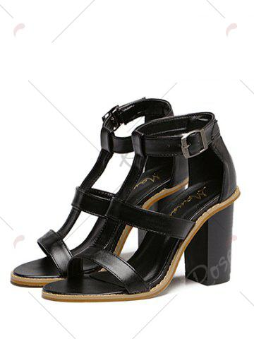 Latest Rome T-Strap and Chunky Heel Design Sandals For Women - 39 BLACK Mobile