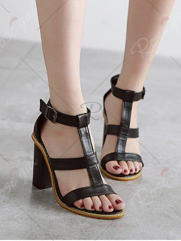 Online Rome T-Strap and Chunky Heel Design Sandals For Women - 39 BLACK Mobile