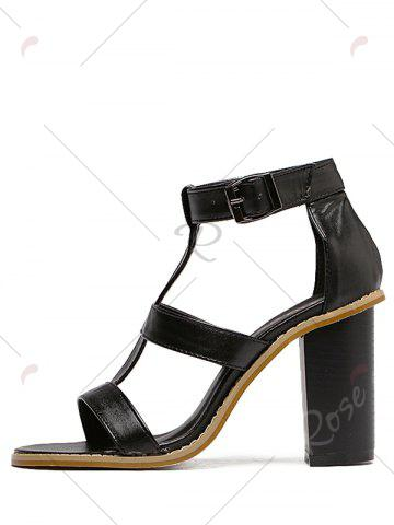 Affordable Rome T-Strap and Chunky Heel Design Sandals For Women - 39 BLACK Mobile
