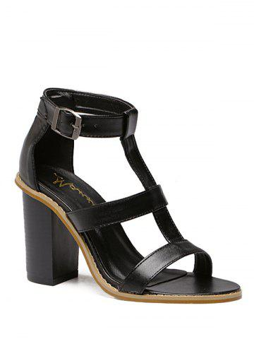 Latest Rome T-Strap and Chunky Heel Design Sandals For Women BLACK 38