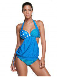Halter Backless American Flag Tankini -