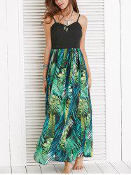 Spaghetti Strap Leaf Hawaiian Print Maxi Dress -