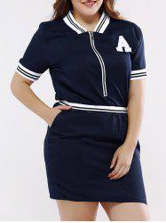Casual Stand Collar Front Zipped Dress For Women -