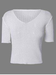 Chic V-Neck Textured Solid Color Women's Knitwear -