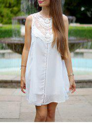Lace Panel Chiffon Sleeveless Short A Line Dress