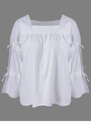 Fashionable Square Neck Lace Up Sleeves Blouse For Women -